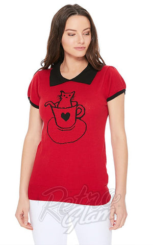 Mak Cat Sweater in Red & Black detail