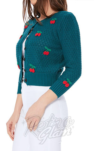 Mak Cherry Cardigan in Peacock side