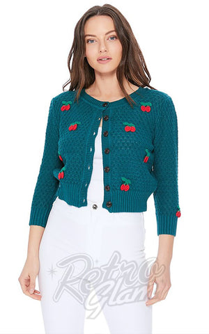 Mak Cherry Cardigan in Peacock