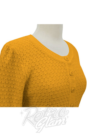 Mak Cropped Textured Cardigan in Honey detail