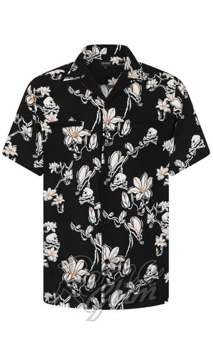 Hell Bunny Men's Skulls & Flowers Shirt