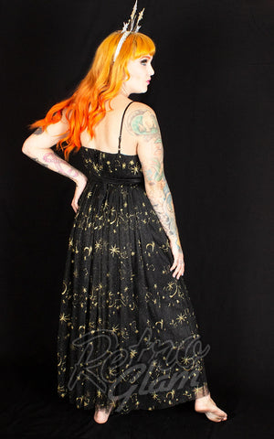 The Oblong Box Celestial Dreams Maxi Dress in Black Celestial back