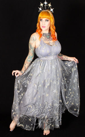 The Oblong Box Celestial Dreams Maxi Dress in Grey Pegasus