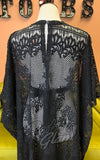 The Oblong Box Floral Lace Caftan in Black detail back
