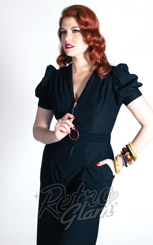 The Oblong Box Quiet Village Jumpsuit in Black doris mayday