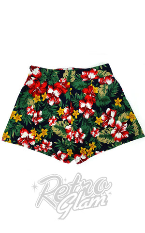 The Oblong Box 1940's Shorts in Hibiscus Heaven