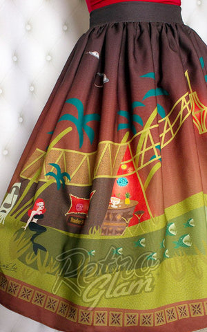 The Oblong Box creature of the black lagoon Monster Tiki Island Skirt gathered novelty skirt print and gather detail