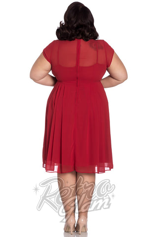 Hell Bunny Paige Dress in Red curvy back