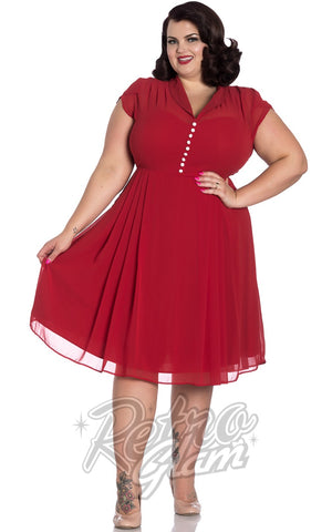 Hell Bunny Paige Dress in Red curvy