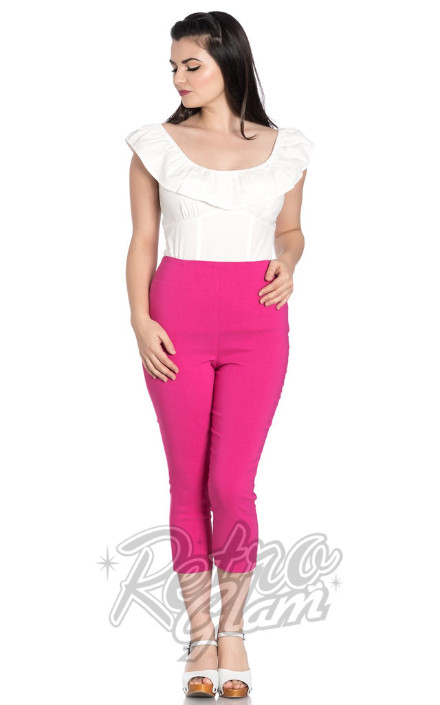 Hell Bunny Tina Capris in Hot Pink