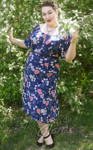 Pinup Couture 1940s bell sleeve Butterfly Dress in Spiderweb Floral