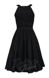 Pinup Couture Harley Dress with gathered neckline and gathered skirt in Black back