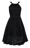 Pinup Couture Harley Dress with gathered neckline and gathered skirt in Black front