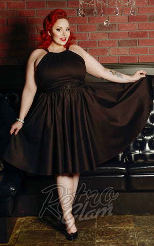 Pinup Couture Harley Dress in Black Lucky L'Amour front Nightjar YEG