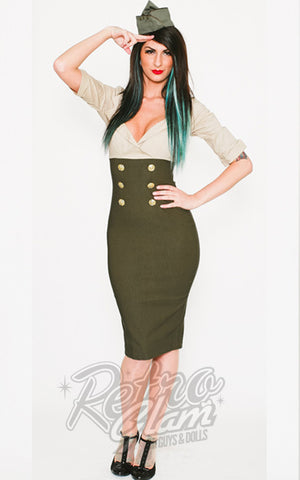 Pinup Couture Military Secretary Dress in Tan and Olive Green front