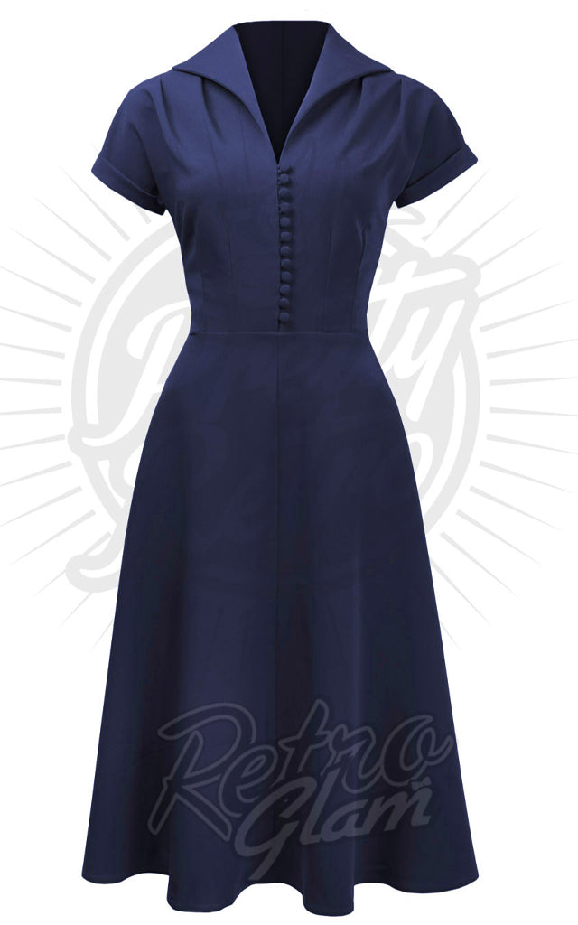 Pretty Retro 40s Hostess Dress in Navy