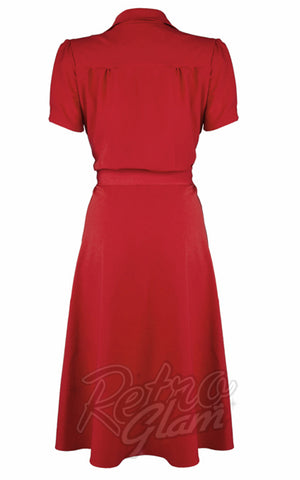 Pretty Retro 40s Shirt Dress in Red back
