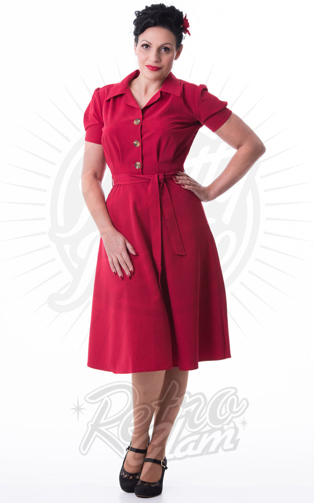 Pretty Retro 40s Shirt Dress in Red