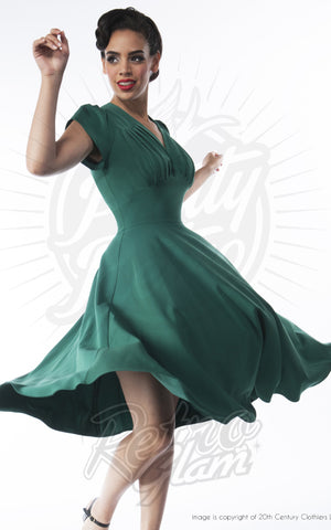 Pretty Retro 50s Swing Dress in Emerald model