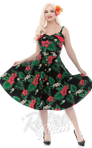 Rebel Love Castaway Playsuit 2 Piece Set in Green & Red Floral 50s