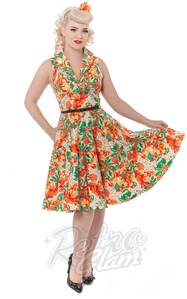 Rebel Love Hello Darling Dress in Tropical Orange Print