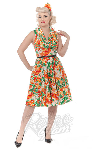 Rebel Love Hello Darling Dress in Tropical Orange Print tiki