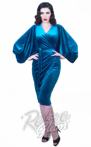 Rebel Love Opening Night Dress in Sapphire Blue pinup