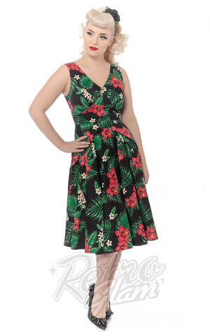 Rebel Love Mai Tai Dress in Green and Pink Tropical Floral pinup