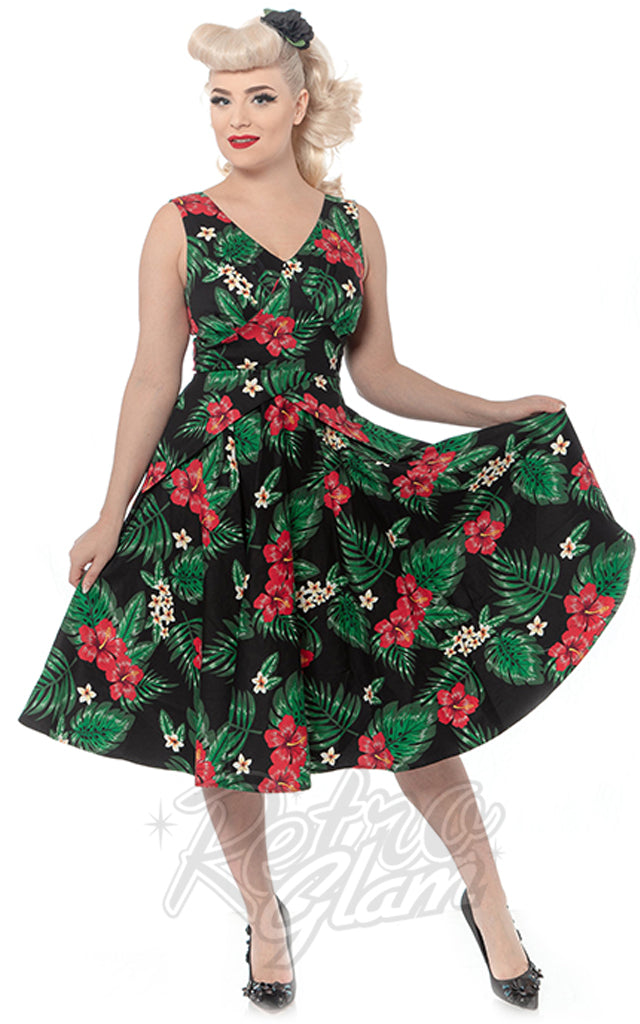 Rebel Love Mai Tai Dress in Green and Pink Tropical Floral