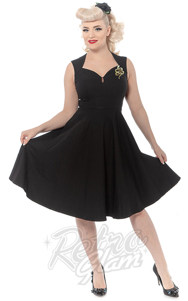 Rebel Love Black Vamp Dress with Snake Brooch