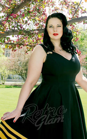 Rebel Love pinup swing Flutter Dress with detachable bee brooches and gold trim