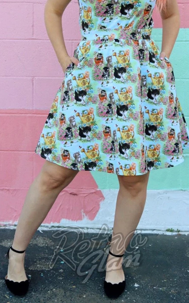 Retrolicious A-Line Skirt in Vintage Kittens Print