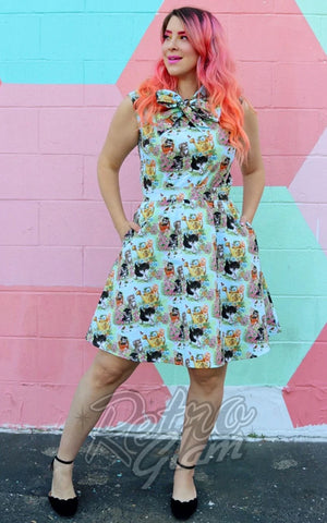 Retrolicious Bow Top in Vintage Kittens Print cats