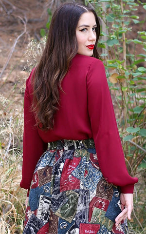 Retrolicious Long Sleeve Bow Top in Burgundy back