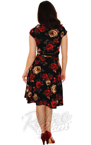 Retrolicious Bombshell Dress in Dark Roses back