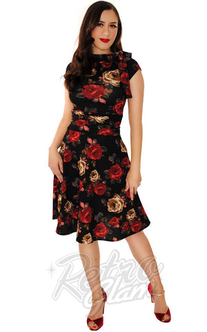 Retrolicious Bombshell Dress in Dark Roses