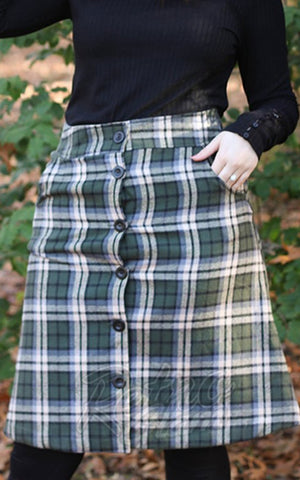 Retrolicious That 70s Skirt in Olive Plaid detail
