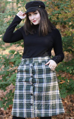 Retrolicious That 70s Skirt in Olive Plaid