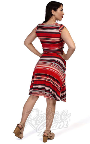 Retrolicious Amelia Dress in Red Retro Stripes back