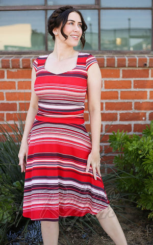 Retrolicious Amelia Dress in Red Retro Stripes model