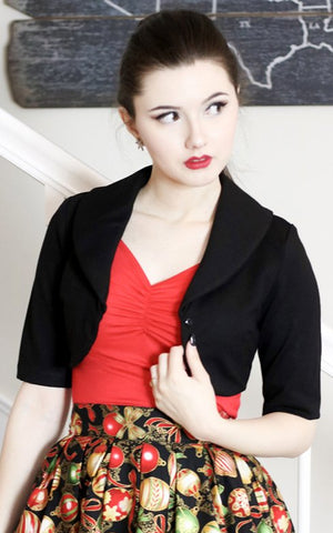 Retrolicious Bolero Jacket in Black