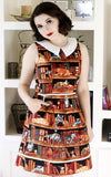 Retrolicious Cats on Bookshelves Dress
