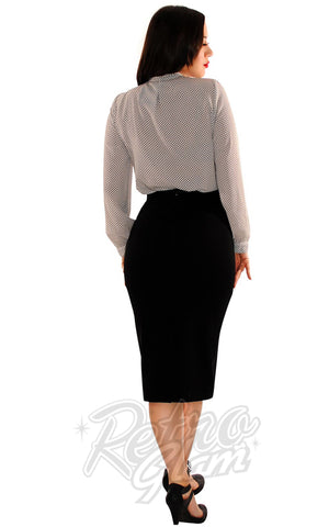 Retrolicious Boss Lady Pencil Skirt in Black back