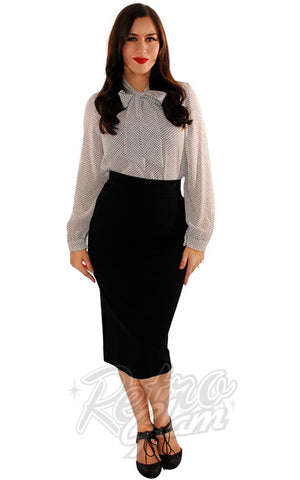 Retrolicious Boss Lady Pencil Skirt in Black