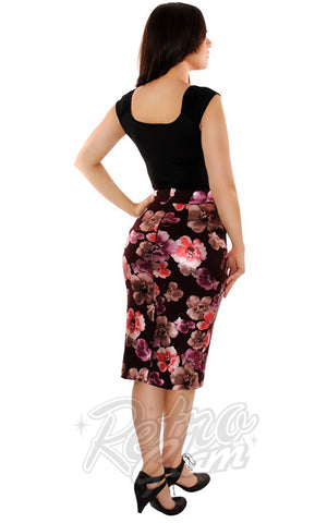 Retrolicious Boss Lady Pencil Skirt in Floral back