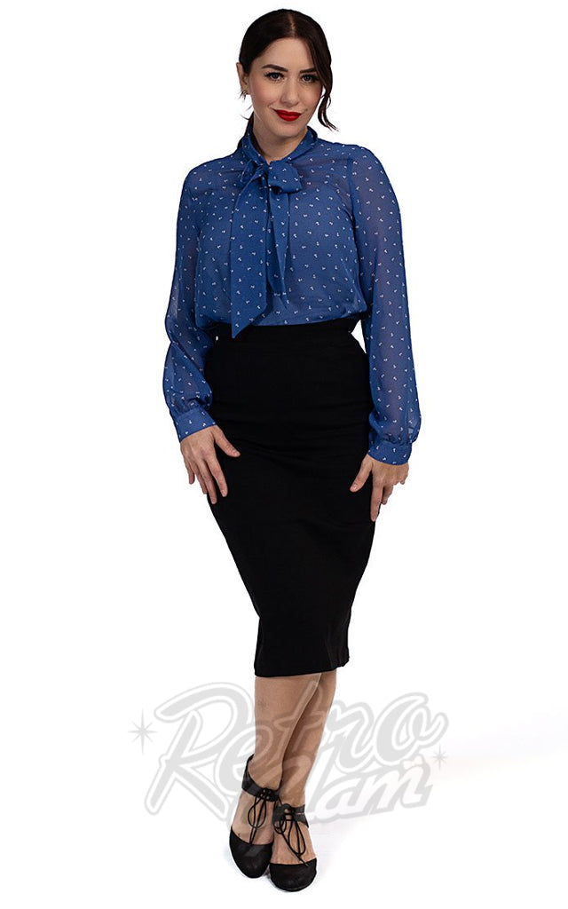 Retrolicious Long Sleeve Bow Top in Blue Anchor Print