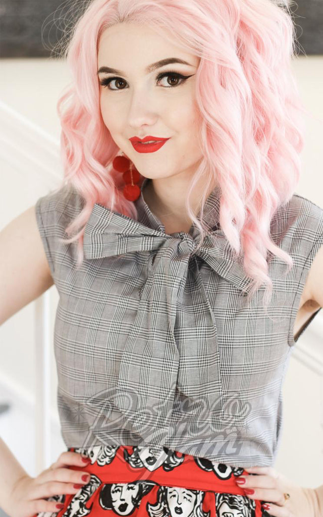 Retrolicious Grey Checkered Bow top