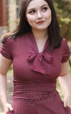 Retrolicious Swing Dress in Burgundy Dots detail