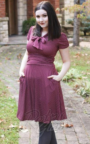 Retrolicious Swing Dress in Burgundy Dots