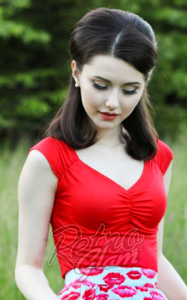 Retrolicious Isabel Top in Red